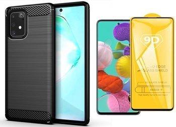 Etui Pancerne KARBON Samsung GALAXY Note 10 Lite czarny +szkło 5D