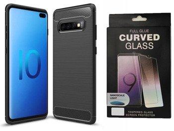 Etui Pancerne KARBON Samsung GALAXY S10 PLUS czarny + szkło 5D  UV FULL GLUE