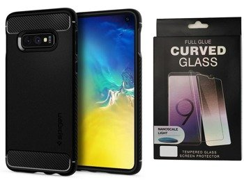 Etui Spigen Rugged ARMOR Samsung GALAXY S10e czarny +szkło 5D UV