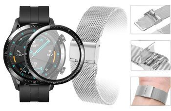 Opaska pasek bransoleta Milanese band z zapięciem Huawei Watch GT 2 46MM srebrna +szkło 3D