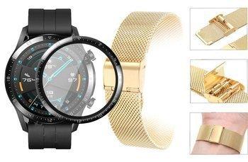 Opaska pasek bransoleta Milanese band z zapięciem Huawei Watch GT 2 46MM złota +szkło 3D