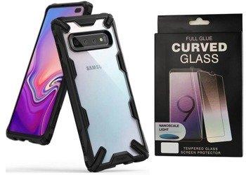 Ringke Fusion X etui pancerny pokrowiec z ramką Samsung Galaxy S10 czarny (FUSG0008) +szkło 5D UV