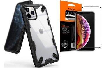 Ringke Fusion X etui pancerny pokrowiec z ramką iPhone 11 Pro Max czarny (FUAP0019) +szkło SPIGE FC