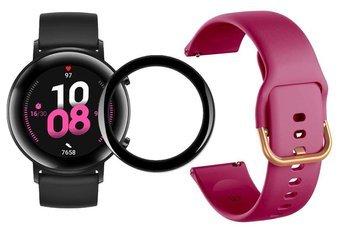 opaska pasek bransoleta GEARBAND Huawei Watch GT 2 42MM bordowo-złota + szkło 5D