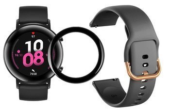 opaska pasek bransoleta GEARBAND Huawei Watch GT 2 42MM czarno złoty + szkło 5D