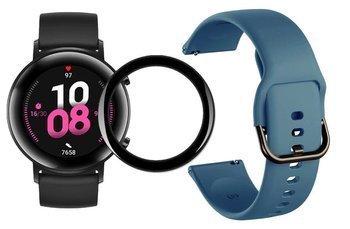 opaska pasek bransoleta GEARBAND Huawei Watch GT 2 42MM szaroniebieski + szkło 5D