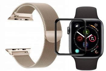 opaska pasek bransoleta MILANESEBAND Apple Watch 4/5 40mm GOLD +szkło 5D