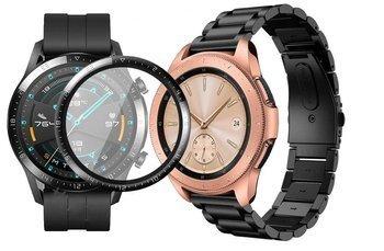 opaska pasek bransoleta STAINLESS Huawei Watch GT 2 46MM BLACK +szkło 3D