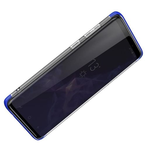 Baseus Armor Case przezroczyste etui pokrowiec z wzmocnioną ramką Samsung Galaxy S9 Plus G965 niebieski (WISAS9P-YJ03)