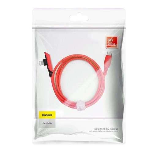 Baseus Colourful kątowy kabel przewód z bocznym wtykiem USB Typ C PD 18W - Lightning 1,2m czerwony (CATLDC-A09)
