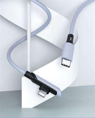 Baseus Colourful kątowy kabel przewód z bocznym wtykiem USB Typ C PD 18W - Lightning 1,2m żółty (CATLDC-A0Y)