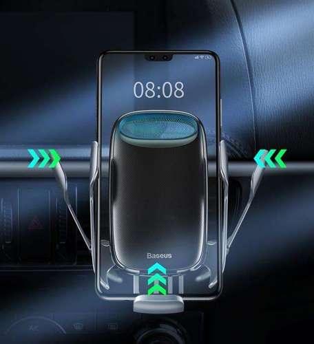 Baseus Milky Way samochodowa bezprzewodowa ładowarka Qi 15W elektryczny uchwyt na telefon czarny (WXHW02-01)