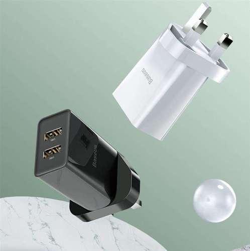 Baseus ładowarka sieciowa 2x USB 2.1A 10,5W (wtyczka UK) biały (CCFS-S02)