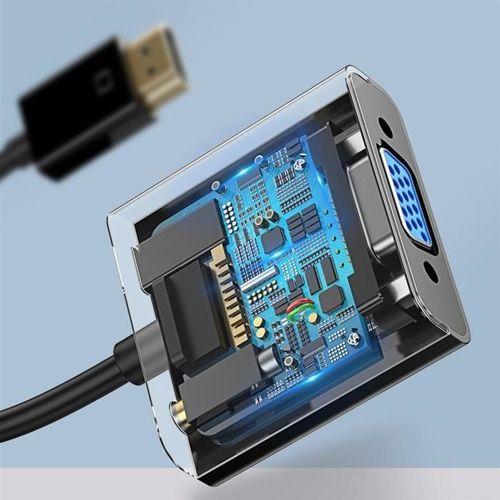 Baseus przejściówka adapter z HDMI 4K na VGA + micro USB / audio AUX 3.5mm mini jack czarny (CAHUB-AH01)