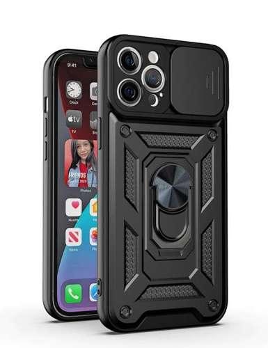 CAM SLIDER RING pancerne hybrydowe etui pokrowiec + magnetyczny uchwyt + ochrona aparatu Xiaomi Redmi NOTE 10 PRO czarny