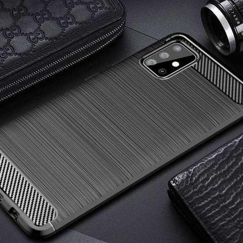 Carbon Case elastyczne etui pokrowiec Samsung Galaxy A51 niebieski