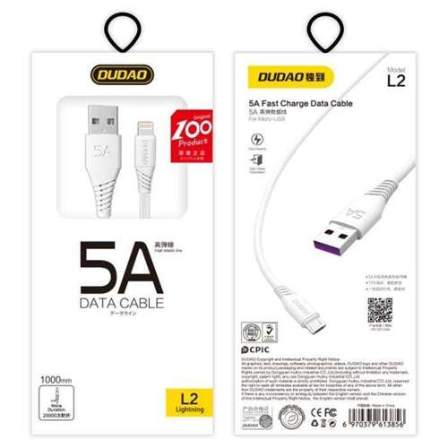 Dudao przewód kabel USB / micro USB 5A 1m biały (L2M 1m white)