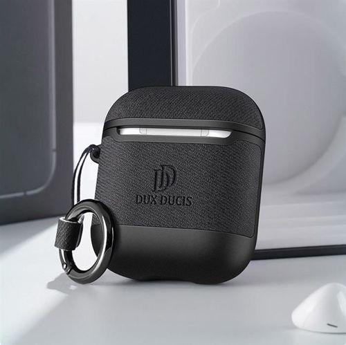Dux Ducis etui na słuchawki Apple AirPods 2 / AirPods 1 z ekologicznej skóry czarny