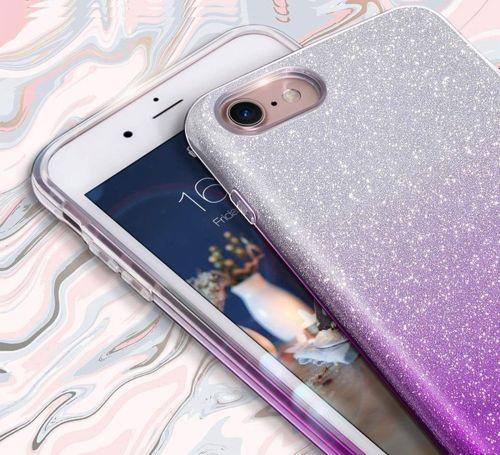 Etui Brokat Glitter HUAWEI Y5 2019 srebrno-fioletowe