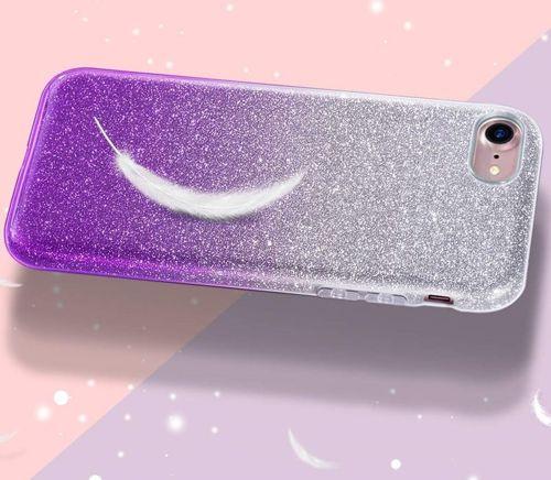 Etui Brokat Glitter NOKIA 4.2 srebrno-fioletowe