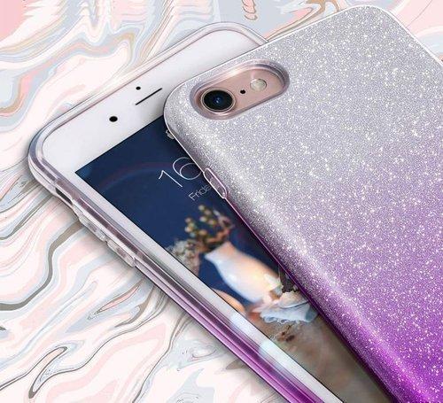 Etui Brokat Glitter XIAOMI REDMI 8A srebrno-fioletowe