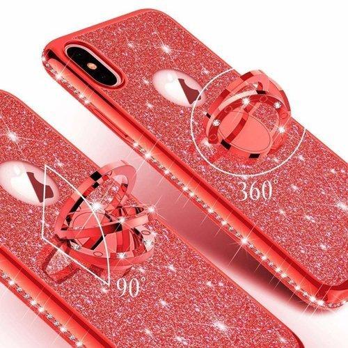 Etui Diamond Ring Glitter Brokat SAMSUNG GALAXY S10 czerwone