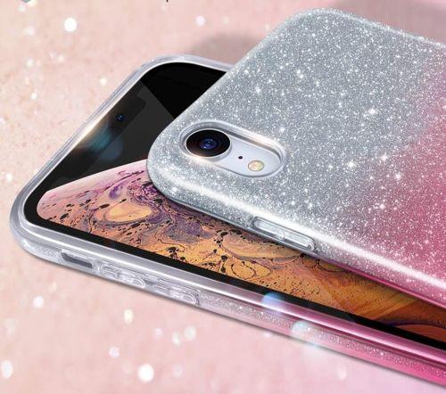 Etui IPHONE 7+ / 8+ PLUS Brokat Glitter srebrno-różowe