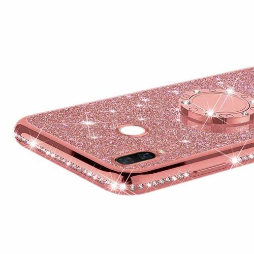 Etui MOTOROLA MOTO E6+ PLUS Diamond Ring Brokat różowe