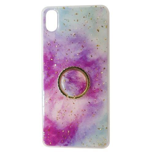 Etui SAMSUNG GALAXY A70 Marble Ring fioletowo-niebieskie