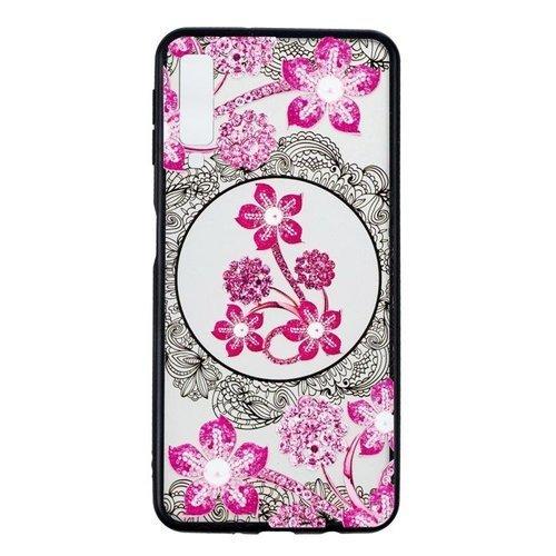 Etui Slim case Art Wzory obudowa nakładka futerał do SAMSUNG GALAXY A7 2018 różowe kwiaty