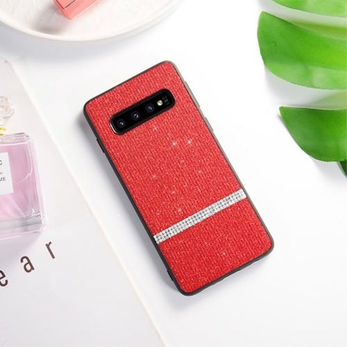 Etui Slim case Brokat Glitter SAMSUNG GALAXY S10 czerwone
