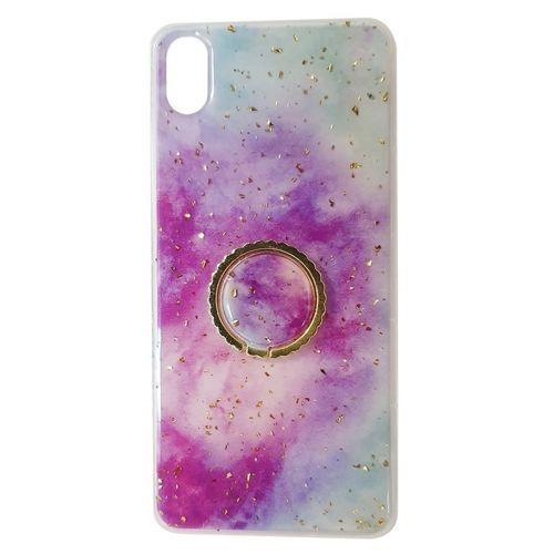 Etui XIAOMI REDMI 7A Marble Ring fioletowo-niebieskie