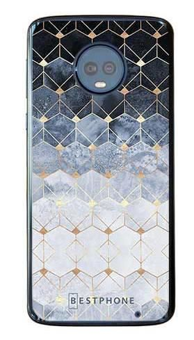 Etui art deco błękitne na Motorola Moto G6 Plus