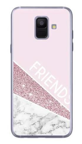 Etui dla przyjaciół friends glitter różowy na Samsung Galaxy A6