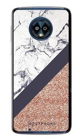 Etui marmurowy brokat na Motorola Moto G6