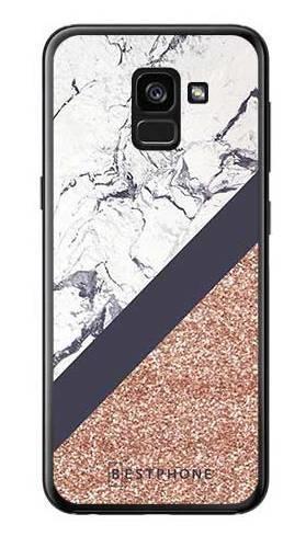 Etui marmurowy brokat na Samsung Galaxy A7 2018