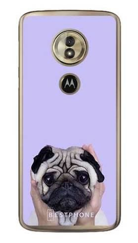 Etui mops na fioletowym tle na Motorola Moto G6 Play