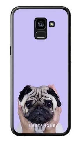 Etui mops na fioletowym tle na Samsung Galaxy A7 2018