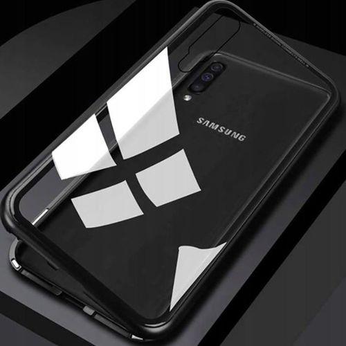 Etui pancerne Magnetic 3w1 Samsung Galaxy A50 Aluminium i Szkło Double Magnetic 360 czarne