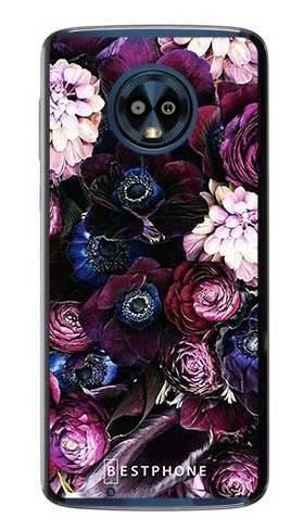 Etui purpurowa kompozycja kwiatowa na Motorola Moto G6