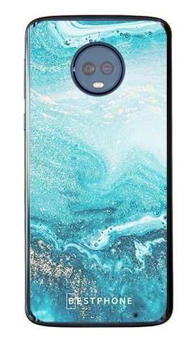 Etui turkusowy marmur na Motorola Moto G6 Plus