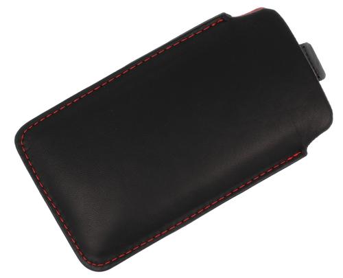 Etui wsuwka skórzana IPHONE 5G/N225 czarne (czerwony środek)