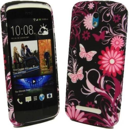 FLOWER HTC Desire 500 czarne kwiaty i motyle