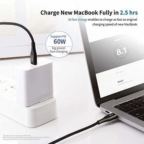 Kabel USB Typ C do USB Typ C 3A 1m ROCK Metal czarny