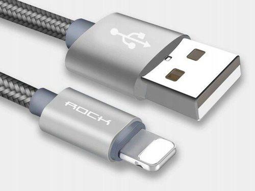 Kabel USB do iPhone Lightning Nylonowy ROCK 1m szary