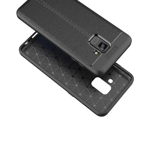 Litchi Pattern elastyczne etui pokrowiec Samsung Galaxy A8 2018 A530 niebieski