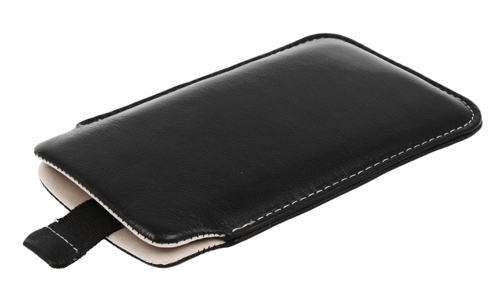 Pionowa skórzana wsuwka Vena HTC HD2/ LG L5 czarna (biały środek)