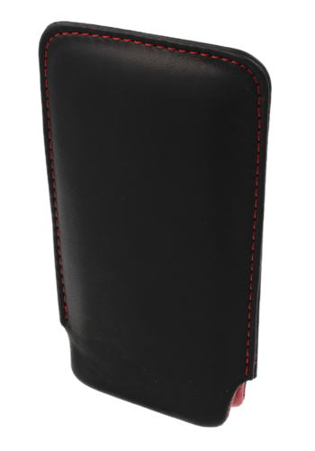 Pionowa skórzana wsuwka Vena NOKIA E52/E51 czarna (czerwony środek)