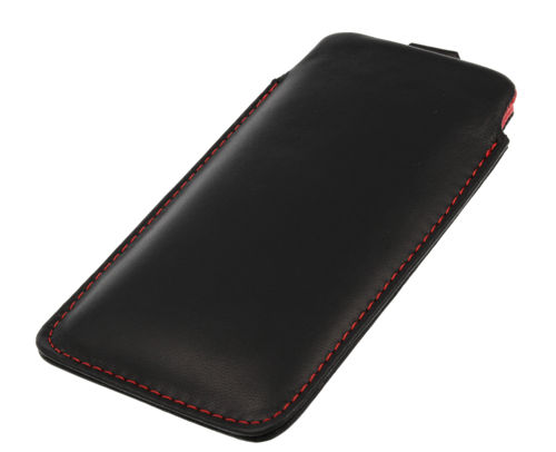 Pionowa skórzana wsuwka Vena SAMSUNG I9100 czarna (czerwony środek)