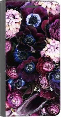 Portfel DUX DUCIS Skin PRO purpurowa kompozycja kwiatowa na Huawei Honor 7x